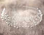 Wedding headpiece, Silver headpiece, Crystal halo, Bridal headpiece, Hair accessories, Wedding headband, Headpiece pearls, Silver headpiece.