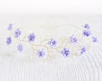 51_Lilac hair accessories, Violet wedding, Flower crown, Hair accessories, Gold tiara, Light purple floral headband Flower headban Headpiece