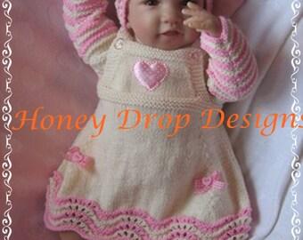 "Raspberry Ripple - To fit 0-3 Months/20-22"" Reborn - Knitting Pattern"