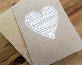 SALE Hand Printed White Love Heart Notecard