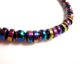 Magnetic Hematite Bracelet - Colorful Rainbow Bracelet