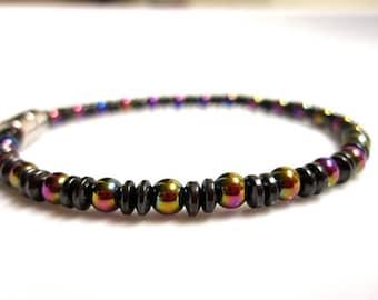 Magnetic Bracelet, Magnetic Therapy Bracelet, Black Rainbow Bracelet