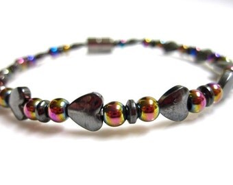 Magnetic Bracelet, Magnetic Therapy Bracelet, Magnetic Hearts, Rainbows and Magnetic Hematite Bracelet
