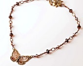 Reserved - Butterfly Copper Wire Link Necklace with Smokey Quartz, Amber Crystal