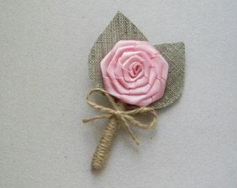 Blush Pink Boutonniere - Burlap buttonhole