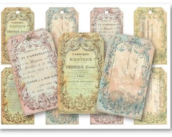 Digital Collage Sheet Download - Ephemera Gift Tags -  714  - Digital Paper - Instant Download Printables
