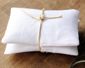 Lavender Sachet White Linen with Inserts