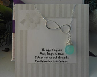 Infinity Lariat, Sterling Silver Infinity, Gifts for Best Friends, Gemstone Necklace, Friendship Card,Y Necklace, Teardrop,Infinity Necklace