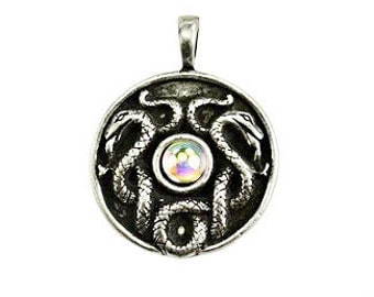 Celtic Snake Pendant - Pewter, Serpent, Spirit animal, Double snake, Nathair, Snake totem, Coiled serpents