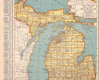 1939 Michigan Vintage Atlas Map