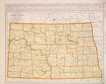 1939 North Dakota Vintage Atlas Map
