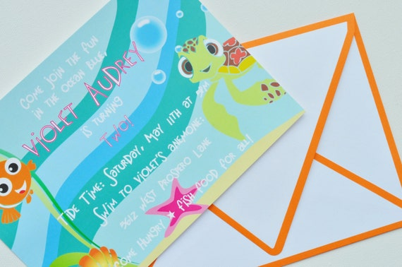 finding nemo squirt invitation by lexdesignsco on etsy