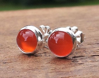 6mm Orange Carnelian Gemstone Stud Post Earrings Fine Sterling Silver Shiny - Little Bits of Color