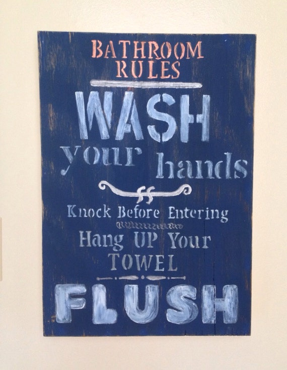 Handmade and painted 39 bathroom rules bathroom decor for Bathroom decor rules
