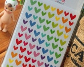 Rainbow color Heart sticker set - 1 pack 6 sheets - 150x95mm scrapbooking materials supplies