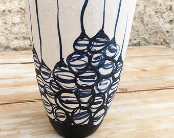 Ceramic vase, black and white organic design