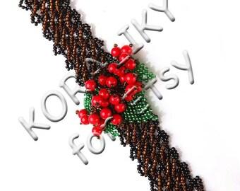 Beaded Cuff Handmade Bracelet Guelder Rose 3D
