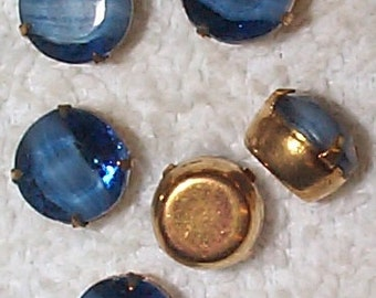 Vintage Faceted Montana-Bllue Givre Glass Stones in Brass Settings