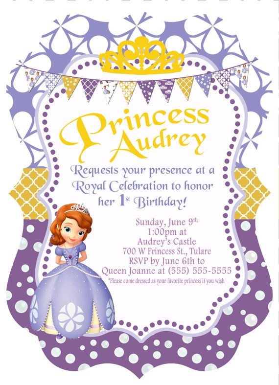 Items similar to 5x7 Disney Princess Sofia the First Birthday Invitation, Sophia the First ...
