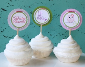 LOOK WHOO'S OWL Themed Cupcake Toppers Happy Birthday or Baby Shower {One Dozen} - Party Packs Available