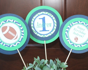 TOUCHDOWN Football Themed Happy Birthday Party or Baby Shower Centerpiece Sticks {Set of 3} - Party Packs Available
