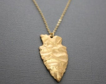 130- Long Gold Arrowhead necklace, layering necklace, fall fashion, chic, simple