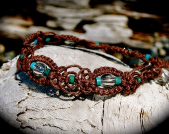 Native American Turquoise and Crystal Quartz Brown Hemp Healing Bracelet