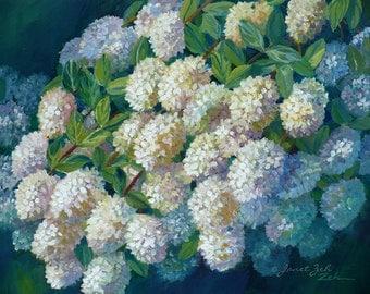 Hydrangea Painting Original Oil on Board Flower Wall Art Janet Zeh 8x10