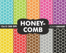 80% OFF SALE Digital Paper Honeycomb Background Patterns Royalty Free Instant Download