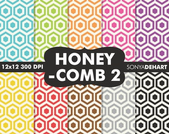 80% OFF Sale Honeycomb Papers, Scrapbook Papers, Honeycomb Pattern, Honeycomb Background, Hexagon Patterns, Hexagon Papers