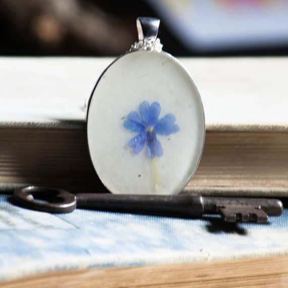 pressed flower necklace lavender phlox real pressed botanical Pendant Jewelry with Handmade Paper - resin jewelry spring summer garden