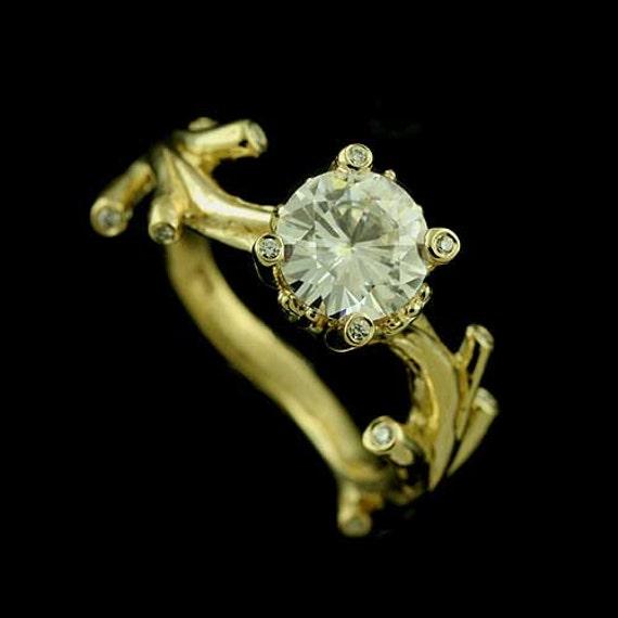Tree Branch Diamond Engagement Ring Moissanite Non