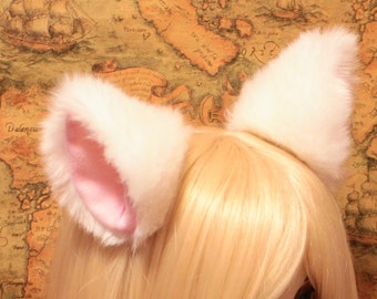 NEW - White inner pink 10 cm Kitty Cat Ear Hair clip , w or w/o Ribbon, FOX ear Long fur flurry Hair Clip Cosplay Costumes Party