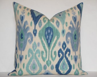 DOUBLE SIDED - IKAT - Decorative Pillow Cover - Aqua - Blue - Teal - Periwinkle - Toss Pillow - Sofa Pillow