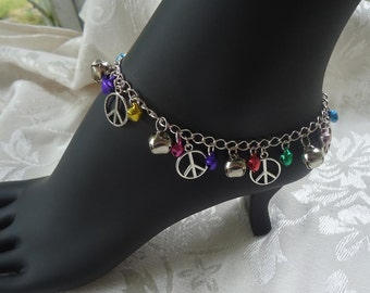 Jingle Bell Anklet with Peace Symbols
