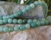 8mm Large Hole Bead Aventurine Round Beads Light to Dark  Green Gemstone Fit Leather approx. 8""