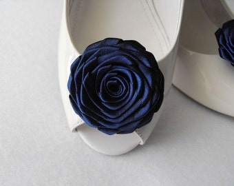 Handmade rose shoe clips bridal shoe clips wedding accessories in navy