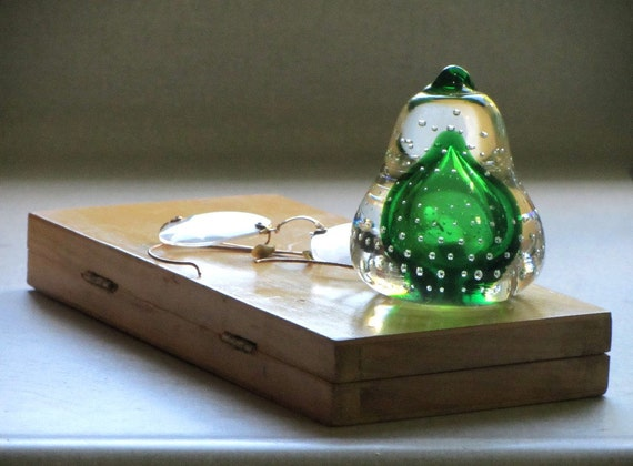 Green Pear Paperweight, Vintage Green Art Glass Pear, Paperweight, Back to School, Office, Desk Accessory Home Decor