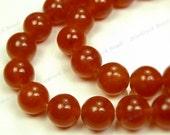 8mm Burnt Orange Jade Round Gemstone Beads - 24pcs - BG41
