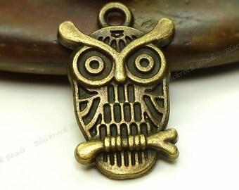 Bulk 30 Owl Charms 22x14mm Antique Bronze Tone Metal - Lead and Nickel Free - BM6