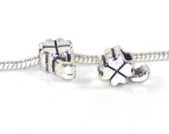 3 Beads - Lucky Four Leaf Clover Silver European Bead Charm E0786