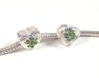 3 Beads - Green Rhinestone Heart Silver European Charm Bead E0833