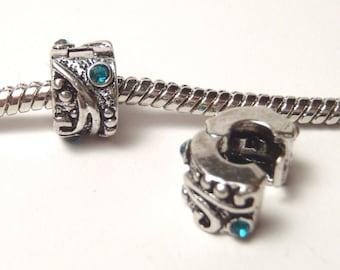 3 Clips - Blue Rhinestone Swirl Silver European Bead Charm E0967