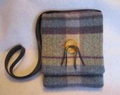 Wool plaid cross body bag 3 pockets eco-suede strap button accent RTS OOAK Original design