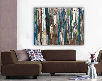 ORIGINAL very LARGE masculine wall art Abstract Landscape painting Modern Tree Art blue teal brown Canvas Artwork office bedroom decor