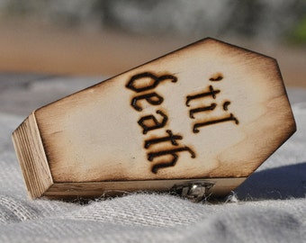 Personalized Proprosal Ring Box - Personalized Ring Bearer Coffin-Halloween Wedding- Rustic Wedding- Ring Bearer Pillow Alternative
