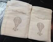 Hot air balloon Muslin Bags- Circus treat bags-Balloon muslin bags-hot air balloon party favors -4x6