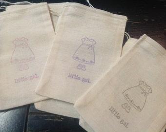Baby Girl Muslin Bags- Baby Shower Muslin Bags-baby girl favors-drawstring bags 4x6