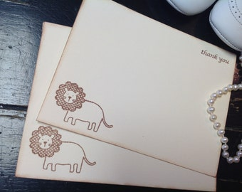 Baby shower thank you cards-Thank you cards-baby gift ideas-baby lion  stationery- set of 10