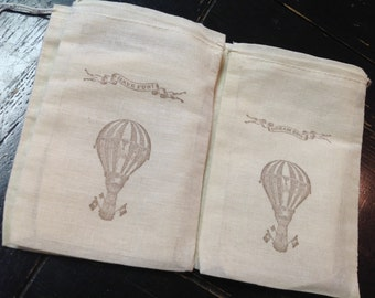 Hot air balloon Muslin Bags- Circus treat bags-Balloon muslin bags-hot air balloon party favors -4x6